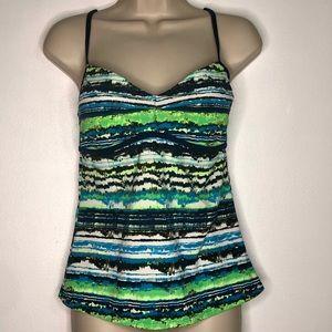 Nike Tankini Top Blue Green Swimwear Size M - 8